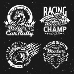 Car rally, racing and motorsport championship vector icons and t-shirt prints. Muscle cars race symbols with checkered flag, mustang horse and speedometer, vehicle wheel and champion stars