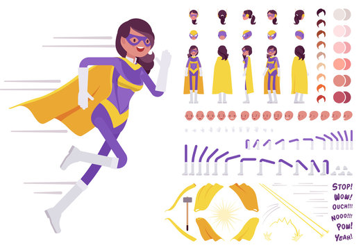 Female super hero in attractive costume construction set with motion, sound effects. Beautiful wonder warrior, superpower brave woman in her perfect skills. Cartoon flat style infographic illustration