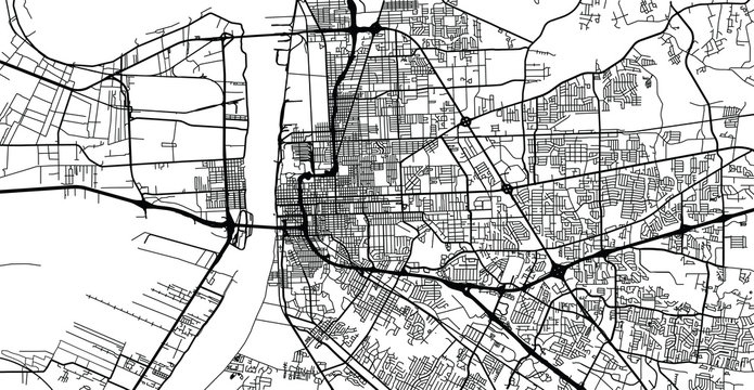 Urban vector city map of Baton Rouge, USA. Louisiana state capital