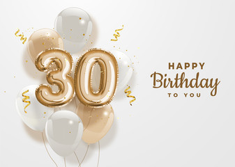 Happy 30th birthday gold foil balloon greeting background. 30 anniversary logo template- 30th celebrating with confetti. Vector stock.