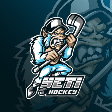 yeti hockey mascot logo design vector with modern illustration concept style for badge, emblem and tshirt printing. angry yeti illustration for sport and team.