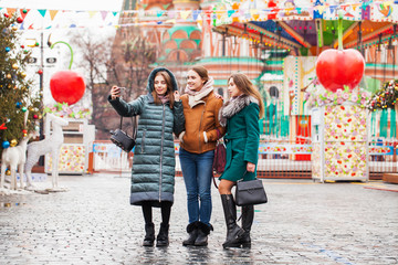Wall Mural - Three Happy Beautiful girlfriends