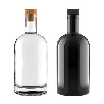 A Set of Clear Glass and Black Bottles for Whiskey, Vodka, Gin, Rum, Liquor or Tequila Bottle for Accurate Work with Light and Shadows. 3D Render Isolated on White Background.