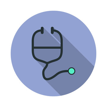 endoscope long shadow icon. Simple color vector of web icons for ui and ux, website or mobile application