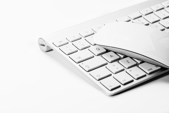 White mouse and keyboard of a personal computer