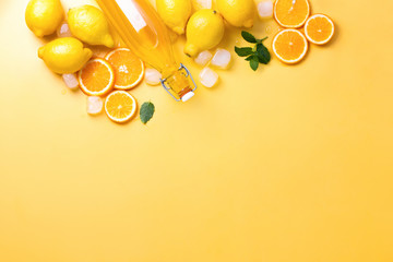 Summer lemonade background with copy space for a text
