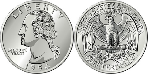 American money, Washington quarter dollar or 25-cent silver coin, first US president George Washington on obverse, Bald eagle on reverse Fotomurales
