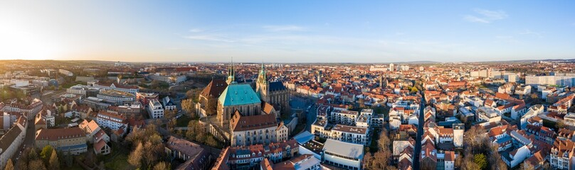 Beautiful Panorama of the Dom and cathedral in Erfurt