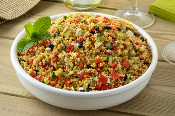 Fototapete - Dish with fresh cooked tabouleh