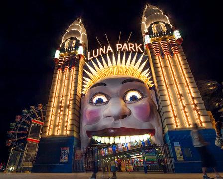 sydney, australia, 05/04/2020 The world famous luna park entrance in sydney australia at night. Luna Park is Sydney's most iconic amusement park and tourist destination. ..