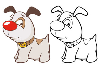 Photo sur Aluminium Chambre bébé Vector Illustration of a Cute Cartoon Character Hunting Dog for you Design and Computer Game. Coloring Book Outline