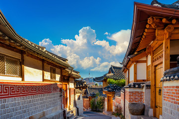Wall Mural - Bukchon Hanok Village. Traditional Korean style architecture in Seoul,Korea.