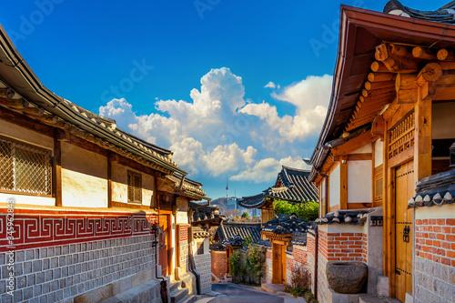 Wall mural Bukchon Hanok Village. Traditional Korean style architecture in Seoul,Korea.