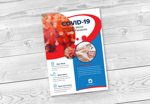 Covid-19 Flyer Layout with Circle Elements