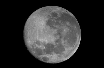 Super full phase Moon, isolated in the black space, with no star and some creaters in detail.