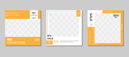 Set of editable square banner templates, white and yellow background colors, with a photo collage concept - Suitable for posting and social media ads Fototapete