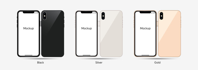 Vector Style Smartphone Mockup Screen Template. Front and Back in Different Colors for Web and App