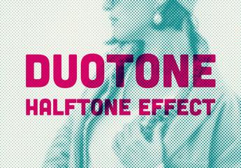 Halftone Duotone Mockup Effect
