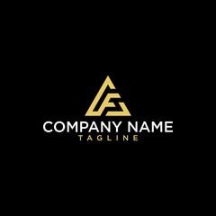 Geometric letter AF or F logo design. Modern luxury intial logo vector.