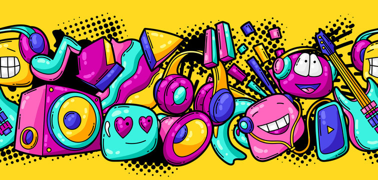 Seamless pattern with cartoon musical items.