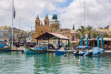 Foto op Plexiglas Historisch geb. Marsaxlokk is a traditional fishing village. located southeast of Malta. Fisherman village in the south east of Malta.
