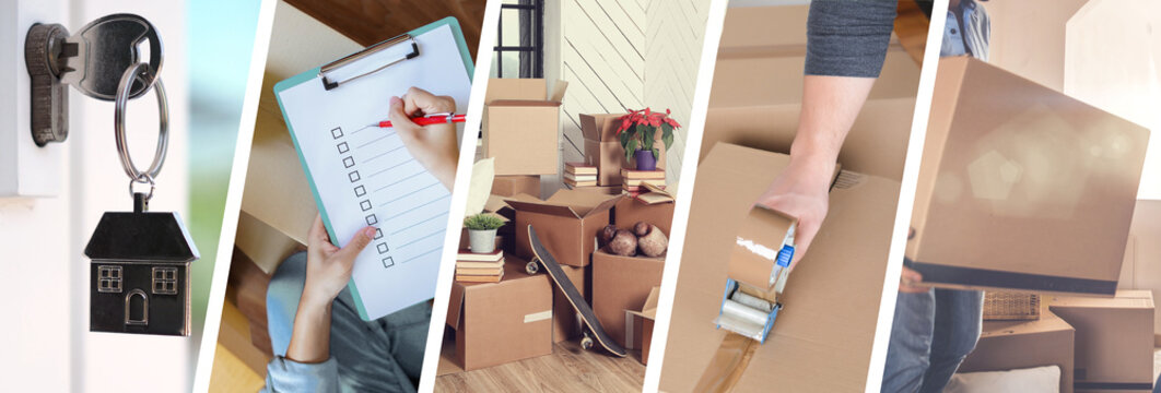Moving House - illustration of the different stages of a move - Web banner design