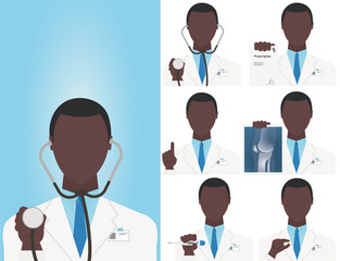 Vector illustration in flat style.Medical staff icons. Black Doctors medical staffs avatars. Funny doctors showing medical tools and equipment: thermometer, stethoscope, X-ray photograph, Rx and pills