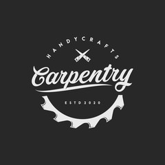 vintage label and carpentry logo, icon and template