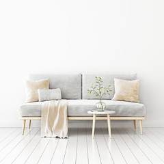 Living room interior wall mockup with gray velvet sofa, beige pillows and plaid, branch in vase and coffee table on empty white wall background. 3D rendering, illustration.