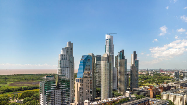 Aerial panoramic view of the skyscrapers in Puerto Madero neighborhood, Buenos Aires, Argentina