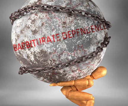 Barbiturate dependence and hardship in life - pictured by word Barbiturate dependence as a heavy weight on shoulders to symbolize Barbiturate dependence as a burden, 3d illustration