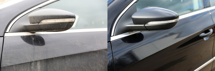 car body part before and after washing close up Fotomurales