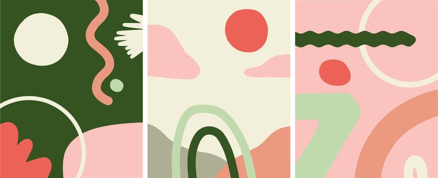 Mid century modern abstract art organic shapes, illustration vector set
