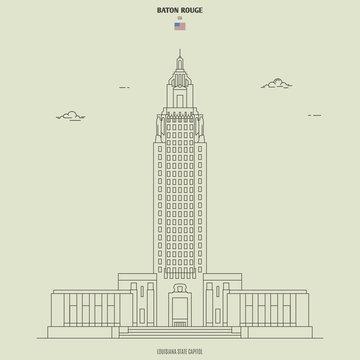 Louisiana State Capitol in Baton Rouge, USA. Landmark icon
