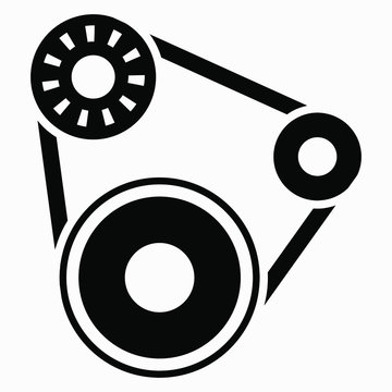 Drive pulley icon. The mechanism of the motor. Engine illustration. Belt and gears. Vector icon.