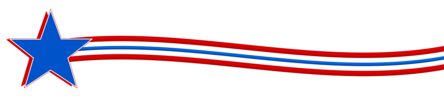Red, white, and blue star with waved stripes - Graphic Illustration