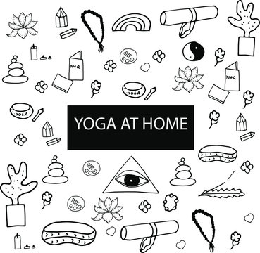 Yoga set of  tools. Yoga mat, candles, singing cups, brushes, plant, book, flowers, stones, crystals, brushes, lotus, pillow for meditation, third eye, bracelet, yin yang sing, rainbow.