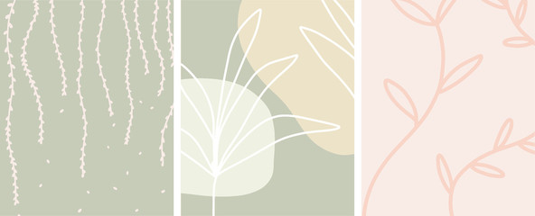 Abstract botanical art with organic shapes and a neutral color palette, vector set of 3