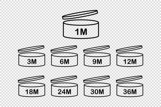 After Opening Use Icons. Collection expiration date symbols isolated on transparent background. Vector