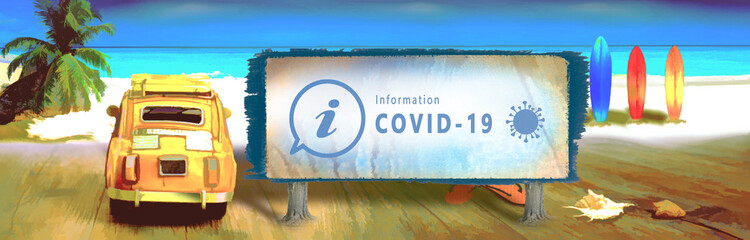 Autocollant pour porte Camping coronavirus , informations vacances, plage, déconfinement et tourisme, 100 km