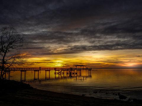 Mobile Bay Sunset near Daphne Alabama