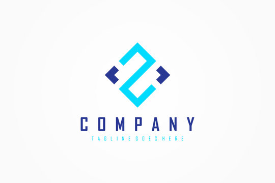 Blue Geometric Line Initial Letter Z Logo. Usable for Business and Technology Logos. Flat Vector Logo Design Template Element.