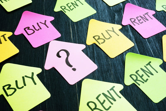 Question mark and word buy or rent on the home shape.
