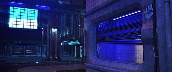 Fotomurales - Neon street of a futuristic city. Beautiful night scene with neon lights in cyberpunk style. Gloomy urban landscape. 3D illustration.