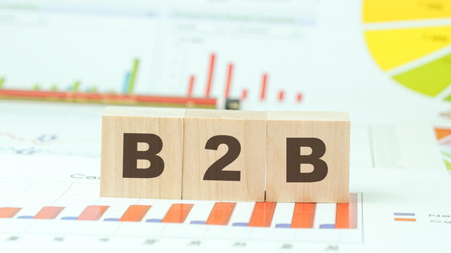 b2b text on wooden blocks business ecommerce communication and partnership concept