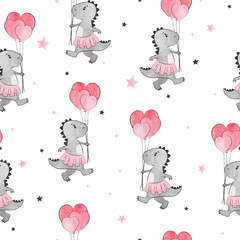 Seamless pattern with cartoon dinosaur girl and heart balloons. Dino background.