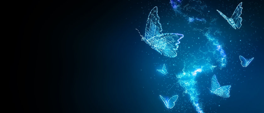 Abstract butterfly 3D illustration digital innovation futuristic technology transform evolution concept New normal after coronavirus crisis business world life change disrupt use strategy leadership