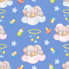 Watercolor pattern with sleeping little elephants, blue background, pattern with small elephants for the decor of baby clothes and baby bedding