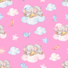 Watercolor pattern with sleeping little elephants, pink background, pattern with small elephants for the decor of baby clothes and baby bedding