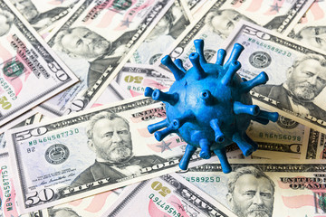 Coronavirus, financial crisis and business concept, corona virus on dollar money bills background,...